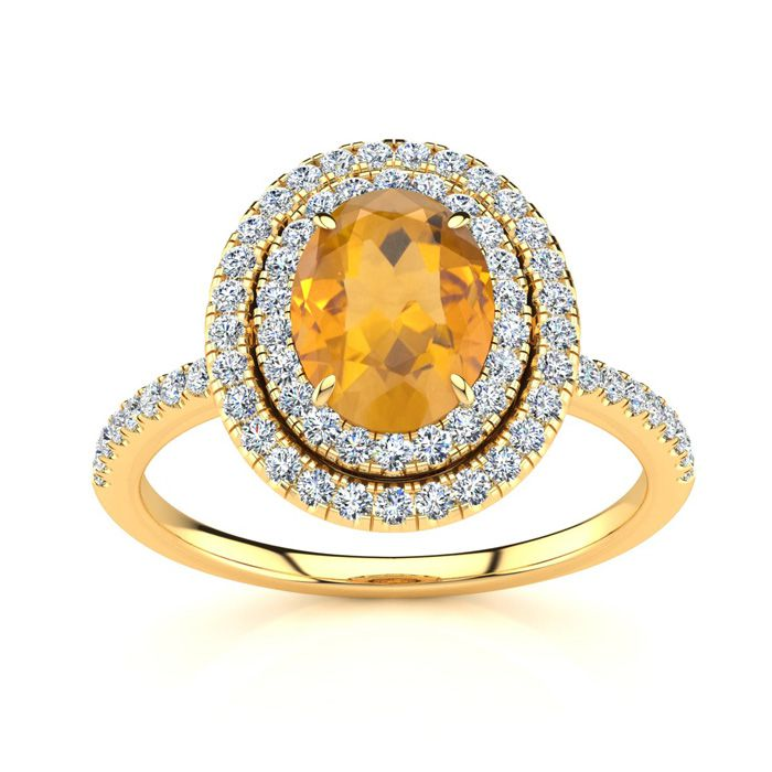1.5 Carat Oval Shape Citrine & Double Halo Diamond Ring in 14K Yellow Gold (4.2 g), I/J by SuperJeweler