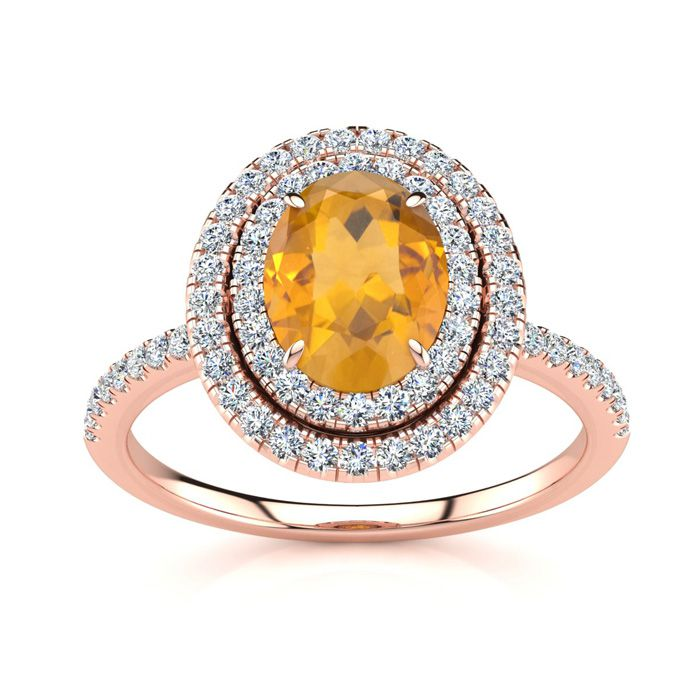 1.5 Carat Oval Shape Citrine & Double Halo Diamond Ring in 14K Ro