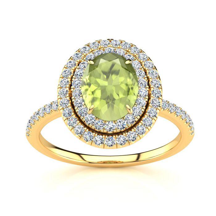 1 3/4 Carat Oval Shape Peridot & Double Halo Diamond Ring in 14K