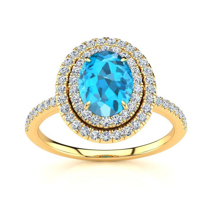 1 3/4 Carat Oval Shape Blue Topaz & Double Halo Diamond Ring in 14K Yellow G..