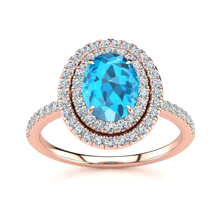 1 3/4 Carat Oval Shape Blue Topaz & Double Halo Diamond Ring in 1