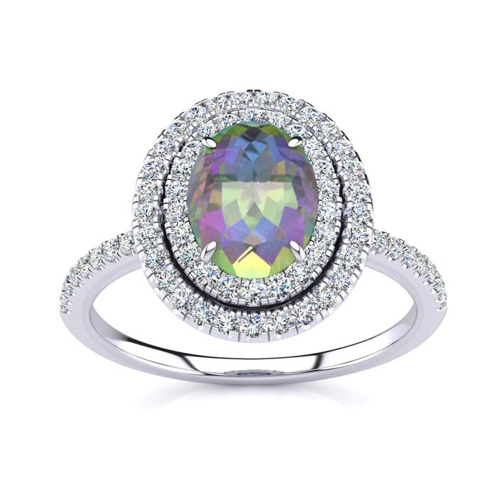 1 3/4 Carat Oval Shape Mystic Topaz & Double Halo Diamond Ring in 14K White Gold (4.2 g), I/J by SuperJeweler
