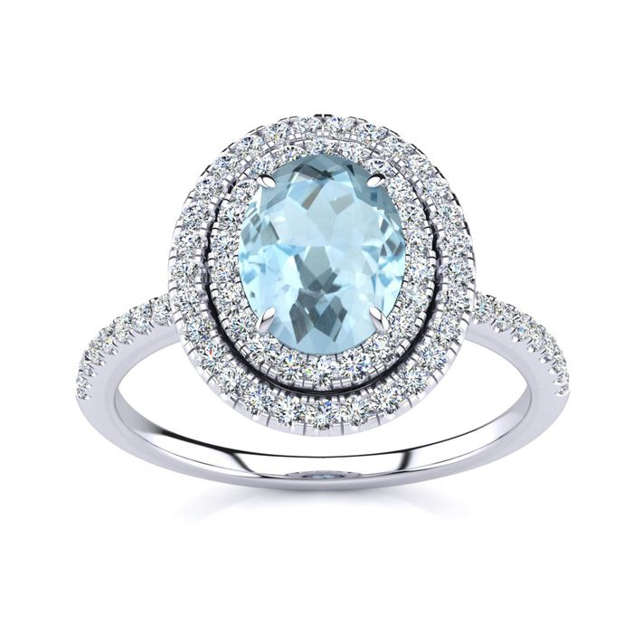 1.5 Carat Oval Shape Aquamarine & Double Halo Diamond Ring in 14K