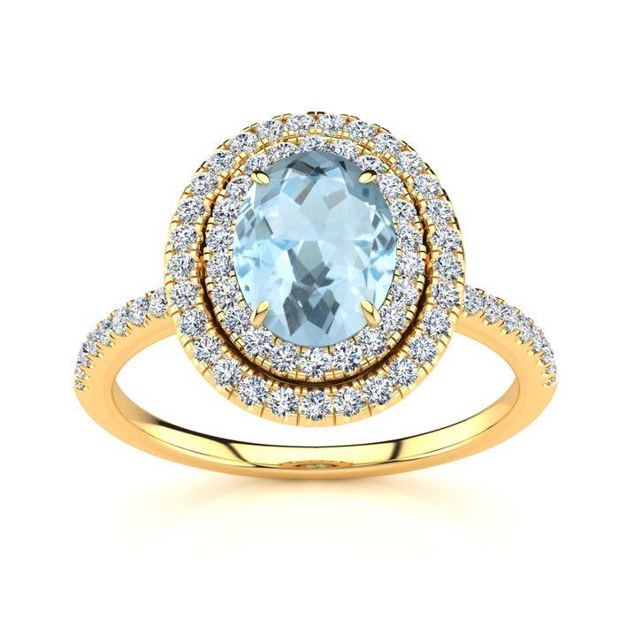 1.5 Carat Oval Shape Aquamarine & Double Halo Diamond Ring in 14K