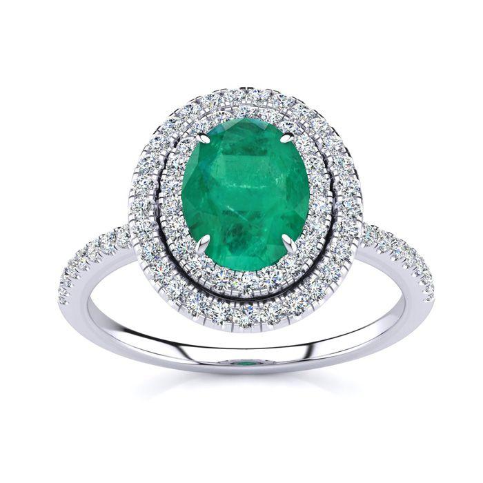 1.5 Carat Oval Shape Emerald Cut & Double Halo Diamond Ring in 14K White Gold (4.2 g), I/J by SuperJeweler