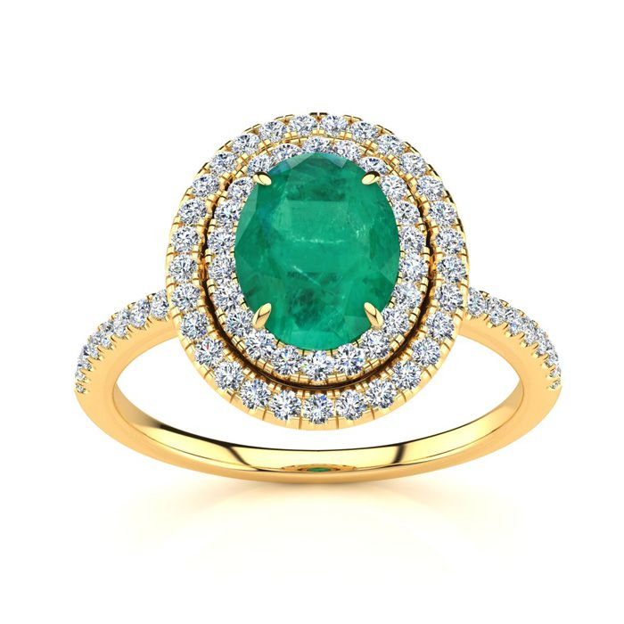 1.5 Carat Oval Shape Emerald Cut & Double Halo Diamond Ring in 14