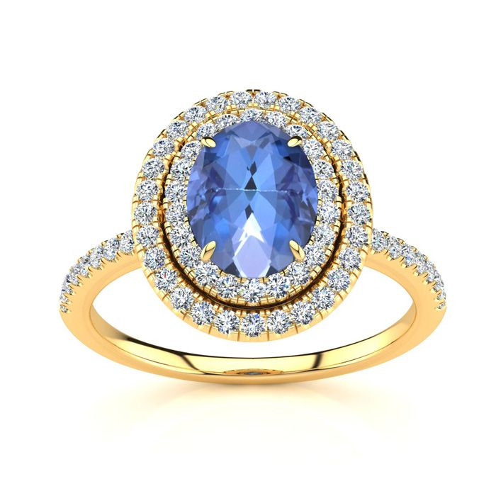 1.5 Carat Oval Shape Tanzanite & Double Halo Diamond Ring in 14K