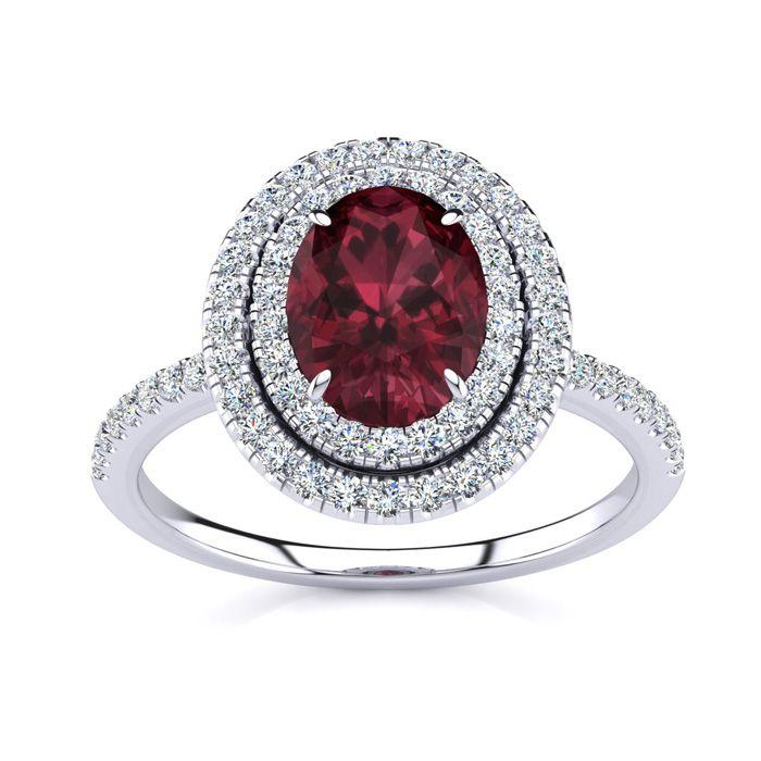 1 3/4 Carat Oval Shape Garnet & Double Halo Diamond Ring in 14K W