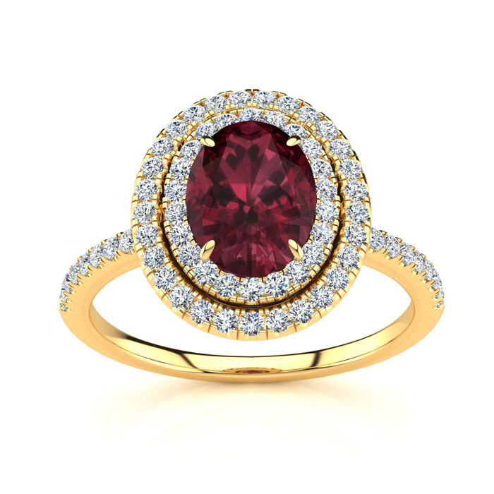 1 3/4 Carat Oval Shape Garnet & Double Halo Diamond Ring in 14K Y