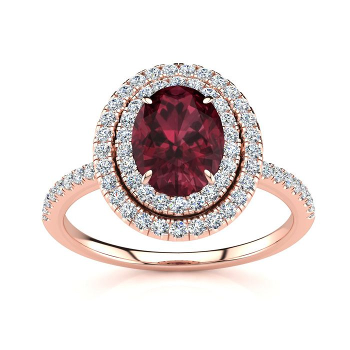 1 3/4 Carat Oval Shape Garnet & Double Halo Diamond Ring in 14K R