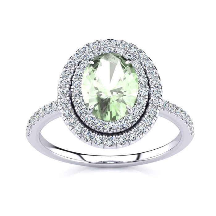 1.5 Carat Oval Shape Green Amethyst & Double Halo Diamond Ring in