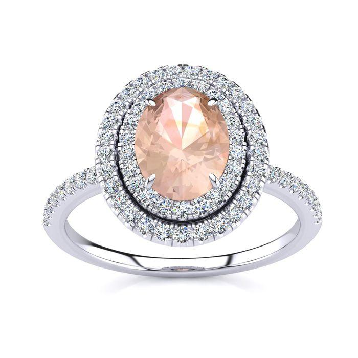 1.5 Carat Oval Shape Morganite & Double Halo Diamond Ring in 14K White Gold (4.2 g), I/J by SuperJeweler