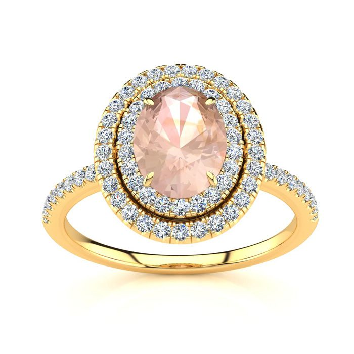 1.5 Carat Oval Shape Morganite & Double Halo Diamond Ring in 14K