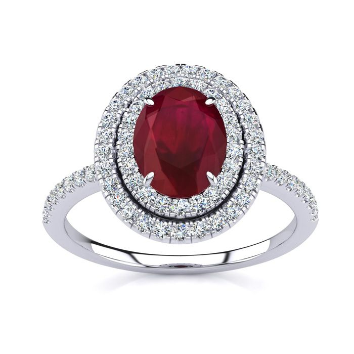 2 Carat Oval Shape Ruby & Double Halo Diamond Ring in 14K White G