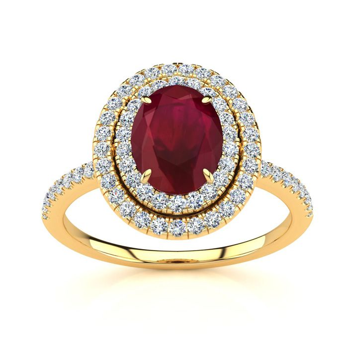 2 Carat Oval Shape Ruby & Double Halo Diamond Ring in 14K Yellow