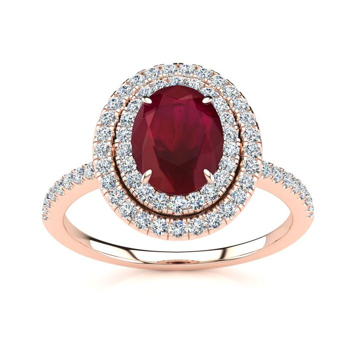 2 Carat Oval Shape Ruby & Double Halo Diamond Ring in 14K Rose Go