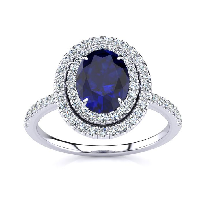 2 Carat Oval Shape Sapphire & Double Halo Diamond Ring in 14K Whi