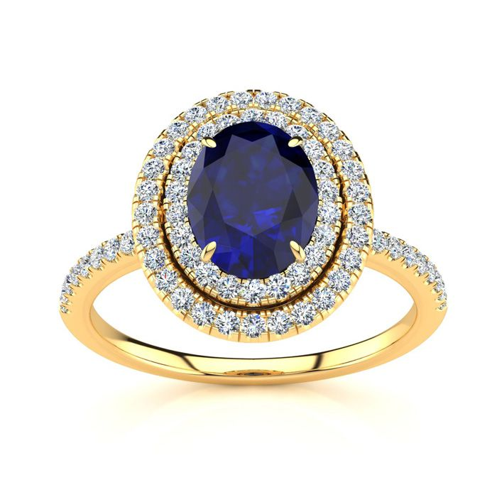 2 Carat Oval Shape Sapphire & Double Halo Diamond Ring in 14K Yel