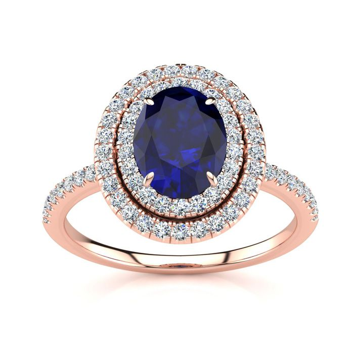 2 Carat Oval Shape Sapphire & Double Halo Diamond Ring in 14K Ros