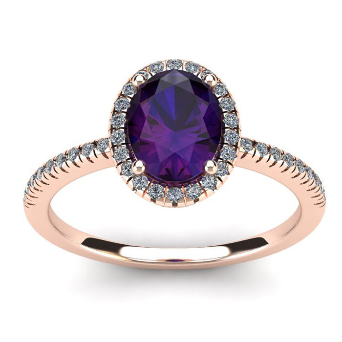 1.25 Carat Oval Shape Amethyst & Halo Diamond Ring in 14K Rose Go