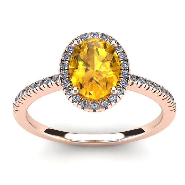 1.25 Carat Oval Shape Citrine & Halo Diamond Ring in 14K Rose Gol