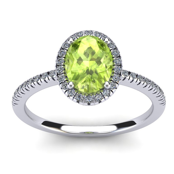 1 1/2 Carat Oval Shape Peridot and Halo Diamond Ring In 14 Karat White Gold