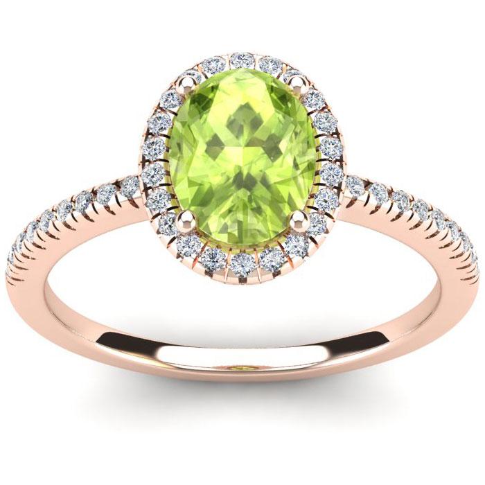 1.5 Carat Oval Shape Peridot & Halo Diamond Ring in 14K Rose Gold (2.9 g), I/J by SuperJeweler