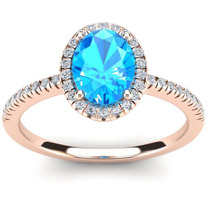1 3/4 Carat Oval Shape Blue Topaz & Halo Diamond Ring in 14K Rose