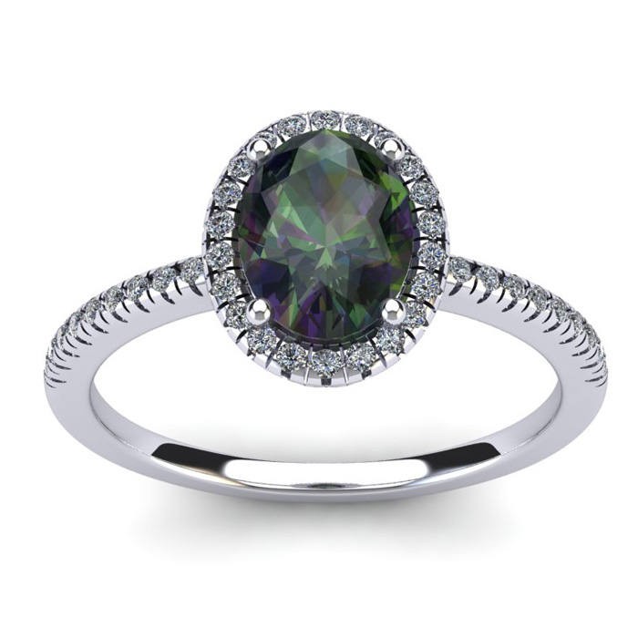 1 3/4 Carat Oval Shape Mystic Topaz & Halo Diamond Ring in 14K Wh