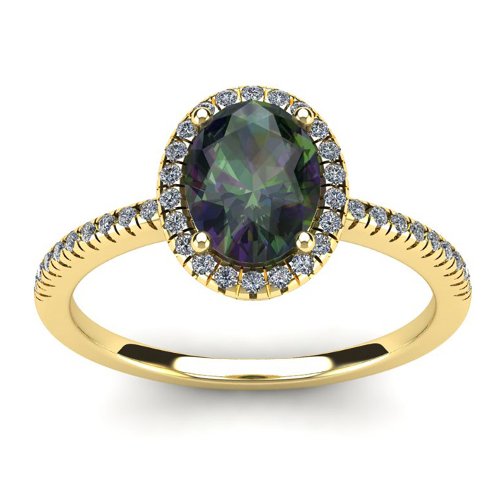 1 3/4 Carat Oval Shape Mystic Topaz & Halo Diamond Ring in 14K Ye