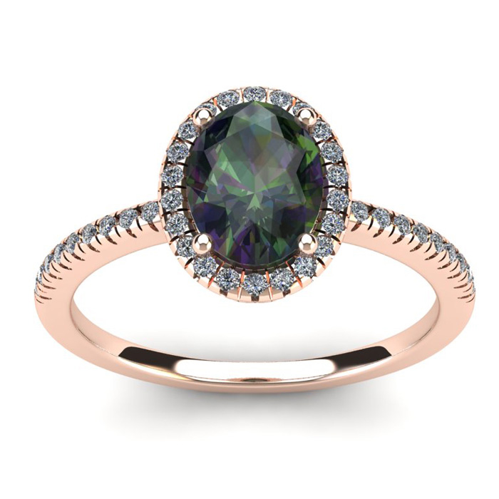 1 3/4 Carat Oval Shape Mystic Topaz & Halo Diamond Ring in 14K Ro