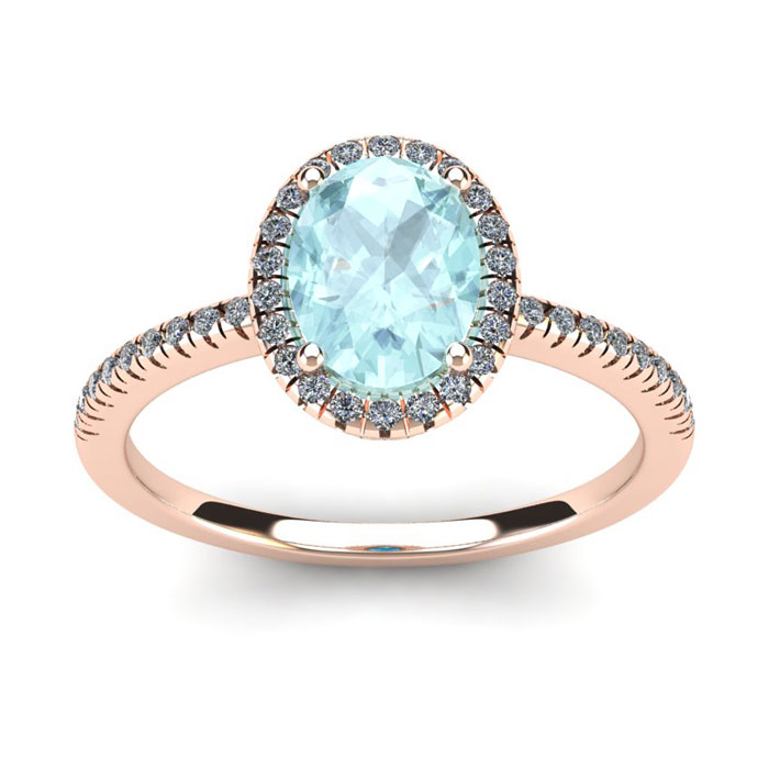 1 1/3 Carat Oval Shape Aquamarine & Halo Diamond Ring in 14K Rose