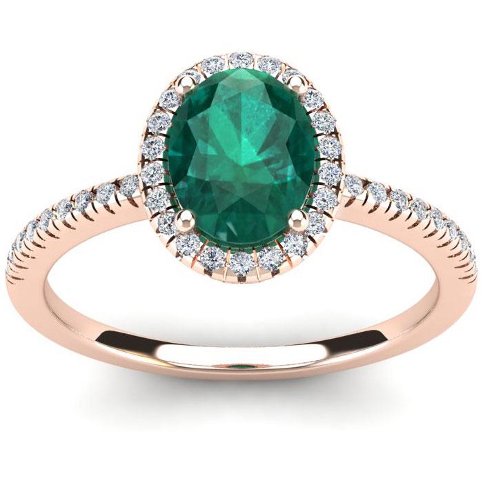 1 1/3 Carat Oval Shape Emerald Cut & Halo Diamond Ring in 14K Rose Gold (2.9 g), I/J by SuperJeweler