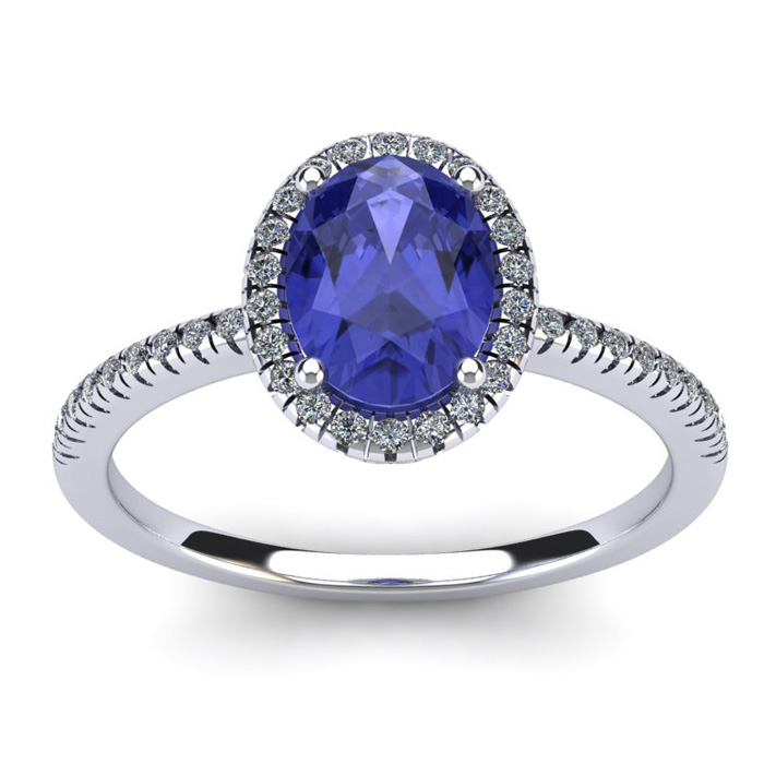 1 1/2 Carat Oval Shape Tanzanite and Halo Diamond Ring In 14 Karat White Gold