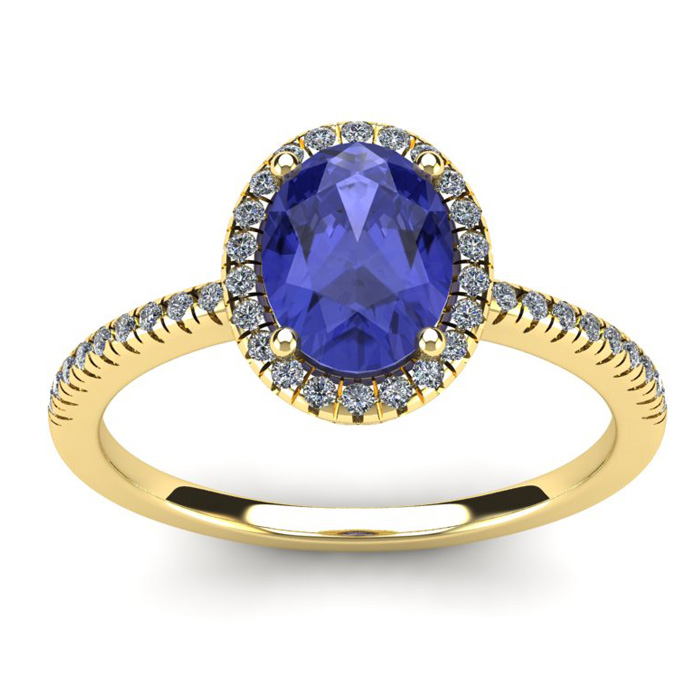 1.5 Carat Oval Shape Tanzanite & Halo Diamond Ring in 14K Yellow Gold (2.9 g), I/J by SuperJeweler