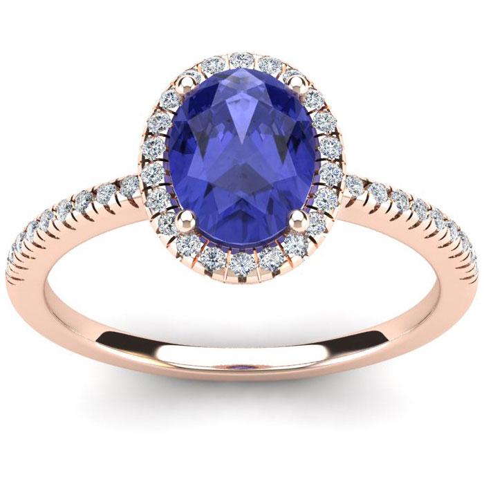 1.5 Carat Oval Shape Tanzanite & Halo Diamond Ring in 14K Rose Gold (2.9 g), I/J by SuperJeweler