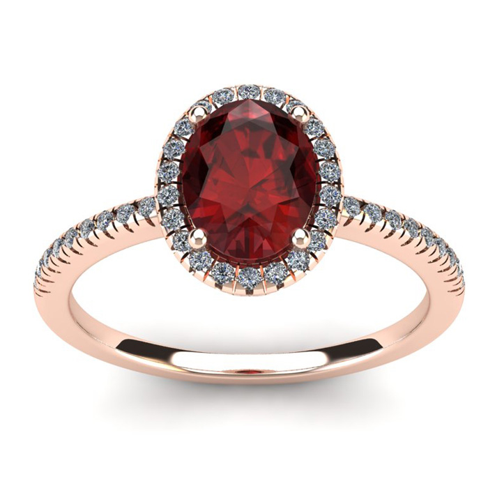 1 3/4 Carat Oval Shape Garnet & Halo Diamond Ring in 14K Rose Gol