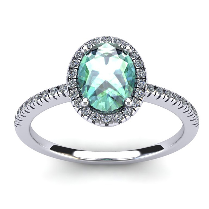 1.25 Carat Oval Shape Green Amethyst & Halo Diamond Ring in 14K White Gold (2.9 g), I/J by SuperJeweler