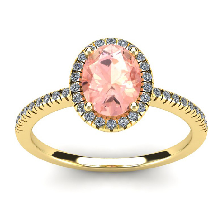 1 1/3 Carat Oval Shape Morganite & Halo Diamond Ring in 14K Yellow Gold (2.9 g), I/J by SuperJeweler
