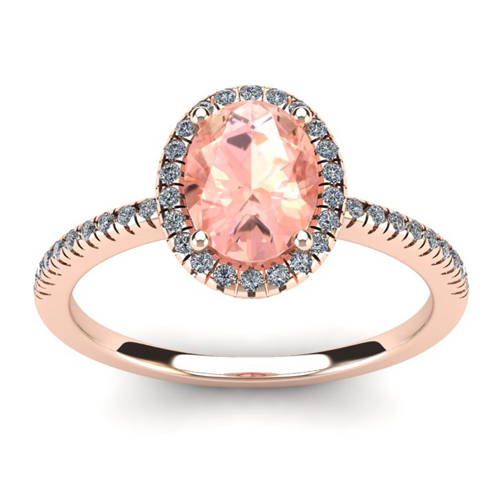 1 1/3 Carat Oval Shape Morganite & Halo Diamond Ring in 14K Rose