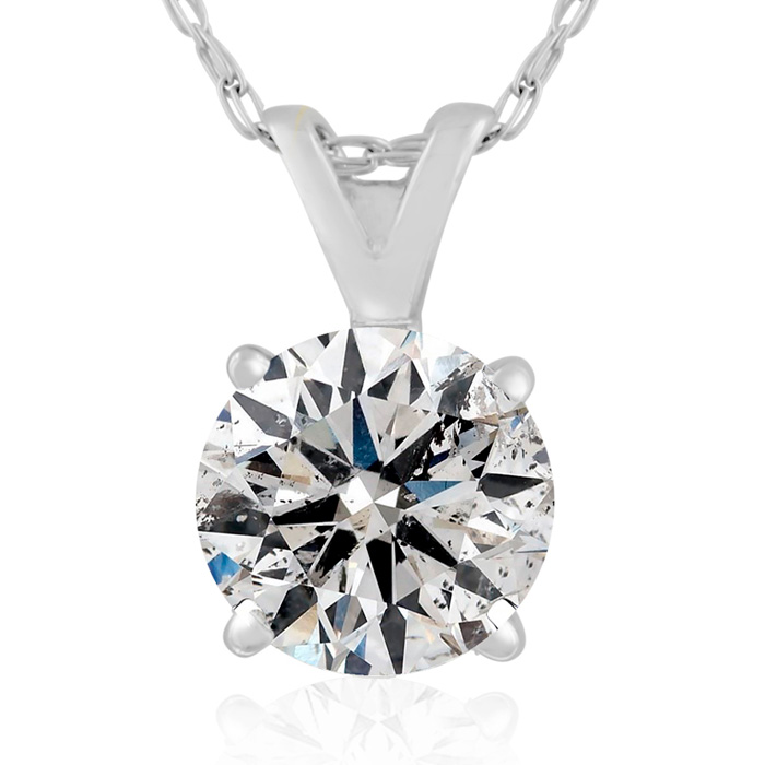 1 Carat Diamond Pendant Necklace in 14k White Gold, K/L, 18 Inch
