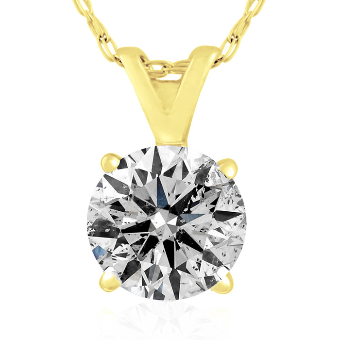 1 Carat Diamond Pendant Necklace in 14k Yellow Gold, K/L, 18 Inch