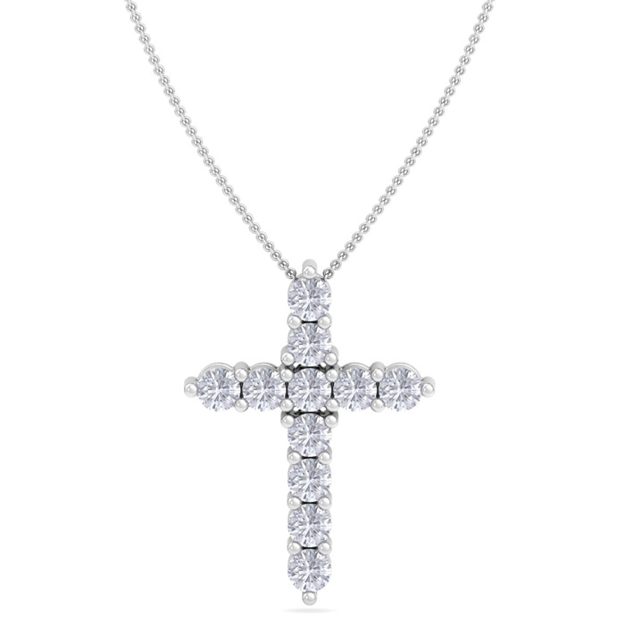 1/2 Carat Diamond Cross Necklace in 14K White Gold, 18 Inches, I/