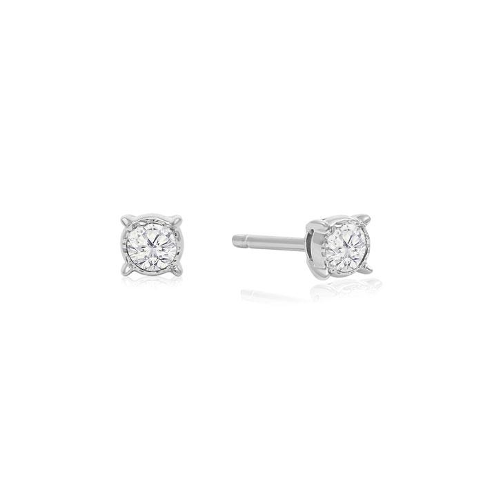 1/10 Carat Diamond Miracle Stud Earrings In