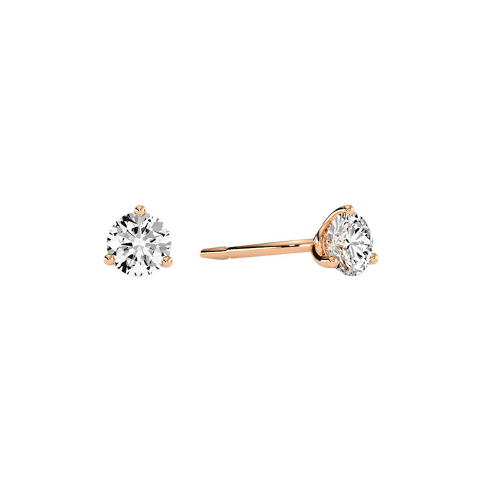 1/3 Carat Diamond Martini Stud Earrings in 14K Rose Gold, I/J by