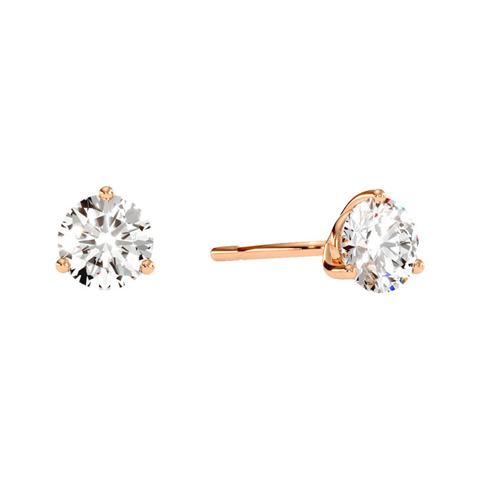 1/2 Carat Diamond Martini Stud Earrings in 14K Rose Gold, I/J by