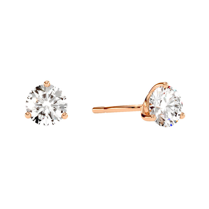 1 Carat Diamond Martini Stud Earrings in 14K Rose Gold, I/J by Su