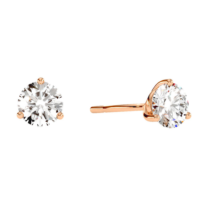 1.5 Carat Diamond Martini Stud Earrings in 14K Rose Gold, I/J by