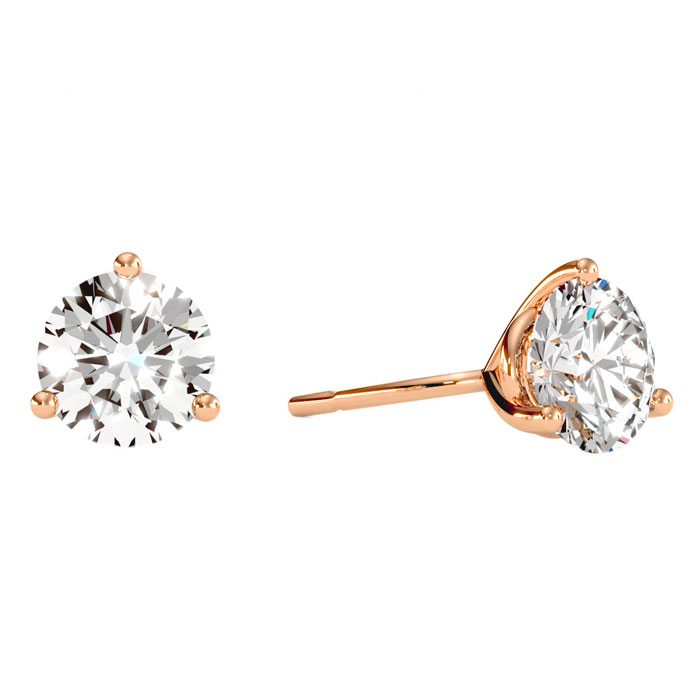 2 Carat Diamond Martini Stud Earrings in 14K Rose Gold, I/J by Su