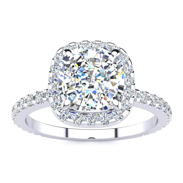 2.5 Carat Cushion Cut Halo Diamond Engagement Ring in 14K White G